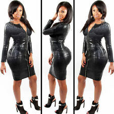 Plus Size Women Snakeskin PVC Faux Leather Bandage Bodycon Zipper Clubwear Dress