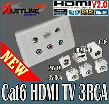 HDMI 2.0 TV Cat6 3RCA eF/s 6port Datamaster Wall Plate 40%Off