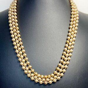 Vintage Brass Bead Triple Strand Choker Necklace Unique Closure