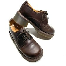 Doc Martens 4-Eye Brown Leather Gibson Chunky Heel Shoes Size 5 Made in England
