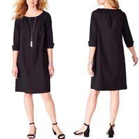 J Jill Womens XS Black Dress Solid Off Shoulder Sheath Pockets