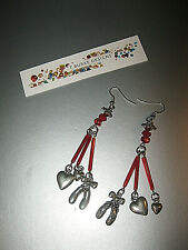 """""""BALLET SLIPPERS & HEARTS PIERCED EARRINGS"""" HANDCRAFTED IN USA-AWESOME DETAILS!"""