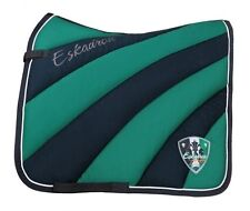 Eskadron Navy & Green Striped Thick Saddle Pad Full Size - Dressage Style
