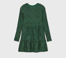 Girls' Lace Tiered Long Sleeve Dress Dark Green Size Medium M 7/8 Art Class