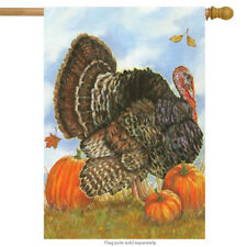 "Autumn Turkey House Flag Thanksgiving Pumpkins Tom Turkey 28"" x 40"""