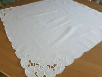 """Vintage White square Lace tablecloth -100% Cotton 36""""x 36"""" embroidered x"""