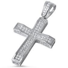 Micro Pave Cz Cross .925 Sterling Silver Pendant
