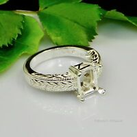 (7x5 - 18x13) EMERALD Engraved Shank Sterling Silver Pre-Notched RING Setting