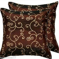 2 Thai Silk Decorative Pillow Cushion Cover Throw FS Brown
