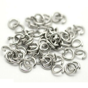 500x Silver Tone Stainless Steel Open Jump Rings 6mm L2E4
