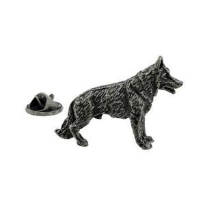 Antique Finish Pewter Alsatian German Shepherd Dog Lapel Pin Badge