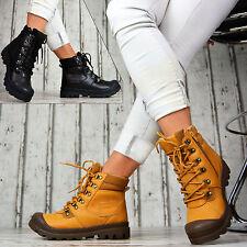 Designer Damen Schuhe Schnür Boots Stiefeletten Leder Optik Camel GEFÜTTERT
