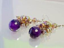 Fashion Purple Ball Crystal Alloy Pendants Drop Earrings ED1001