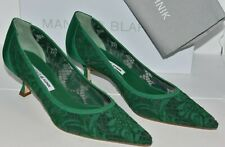 $745 NEW Manolo Blahnik SRILA Lace Green Kitten Heels Pumps BB Shoes 40 40.5