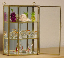 New Petite Glass & Brass CURIO CABINET for mini Figurines, sea shell Display