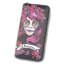 Women PU Leather Long Zip Purse Phone Holder Wallet Skull Beauty Clutch Handbag