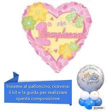 CENTROTAVOLA 1° COMPLEANNO BIMBA con kit e Palloncino cuore Rosa Addobbi Feste
