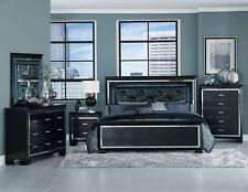 GLITZY 4 PC BLACK MIRRORED LED LIGHTS KING BED N/S DRESSER BEDROOM FURNITURE SET
