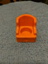 Vintage Fisher Price little people orange wing/arm chair for House #952