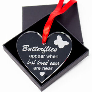 Butterflies appear acrylic memorial remembrance bauble christmas tree decoration