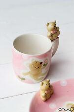 Children Ceramic Hand Painted Brown Bear Pink Mug Cup Cups Birthday Gift Girls