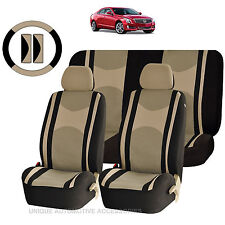BEIGE & BK MESH NET SEAT COVERS AIRBAG READY SPLIT BENCH 9PC SET FOR CARS 1445
