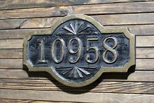Custom Carved Address Sign Antique Brass Finished Double Arch Wood Plaque