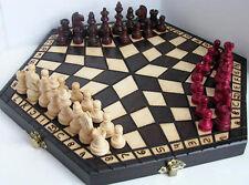 Schach, Schachspiel für Drei, 54 x 47 cm, 40 x 35 cm, 32 x 28 cm, Holz