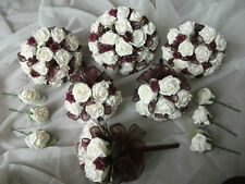 burgandy and ivory handtied bouquets, wedding flowers,complete package
