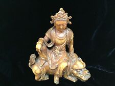 "antique Chinese soapstone Guanyin seated on foo lion 6.5"" Qing 18/19thC QUALITY"