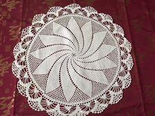 "19"" Pinwheel Pattern Round Crocheted White Doily Topper Vintage Free Shipping"