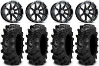 "MSA Black Diesel 14"" ATV Wheels 28"" Cryptid Tires Honda Foreman Rancher SRA"