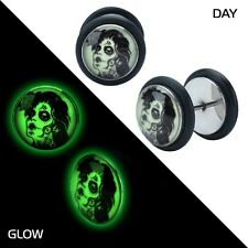 Earrings Ring Fake Cheater Ear Plug Glow in the Dark Lady Zombie 18g Pair