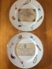 "Rosanna Chateau Haul-Bages & Lafaurie-Peyraguey Set Of 2 8"" Plates  Made Italy"