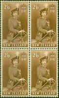 New Zealand 1957 2s6d Brown SG733d V.F MNH Block of 4