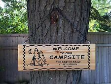 Personalized Custom Made Carved Family Name Camping Cedar Wood Sign Wall Plaque