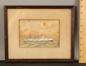 Small 19thC Antique Signed British Canopus Class Battleship Maritime Painting NR