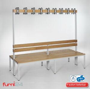 Umkleidebank Sitzbank doppelseitig mit Garderobenhaken Umkleide beidseitig