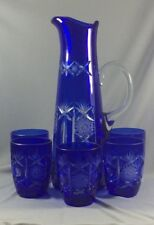 Cobalt Blue Cut To Clear Glass Pitcher & 5 Glasses Set - Bohemian