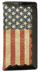 Men Wallet Western Bifold Check Book Style W045 American Flag