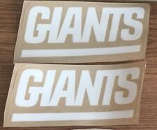 GIANTS WHITE  BLOCK STYLE   Football Helmet SIDE Decals ONLY
