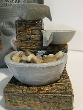 Soothing Relaxing Cascading Brick Bowl Table Water Fountain LED Dual Power ZEN