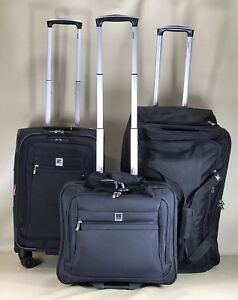 """Delsey Helium Hyperlite Black Luggage Set 17"""" Tote, 20.5"""" Carry On & 28"""" Duffle"""