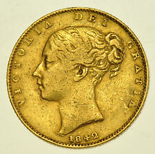 RARE, 1842 GRΛTIΛ SHIELD SOVEREIGN BRITISH GOLD COIN FROM VICTORIA aVF