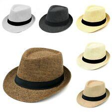 Kids Children Straw Hat Boys Girl Fedora Trilby Cap Summer Beach Sunhat Size XS