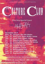 Event Promo Flyer: Culture Club & Alison Moyet - Postponed UK Arena Tour 2014