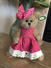 """Bearington Bears TINY TULIP #143230 2010 10"""" Plush🐻Pink Polka Dot Dress MWT🌷"""