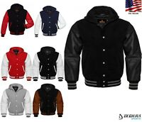 Mens Hoodie Wool + Real Leather Arms Quilted Letterman College Varsity Jacket