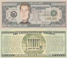 Brad Pitt Caricature Million Dollar Tract Funny Money Novelty Note + FREE SLEEVE