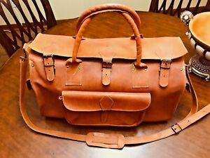 EUROPEAN Vintage Saddle Leather Travel Duffle Bag / Weekender - Made In Greece